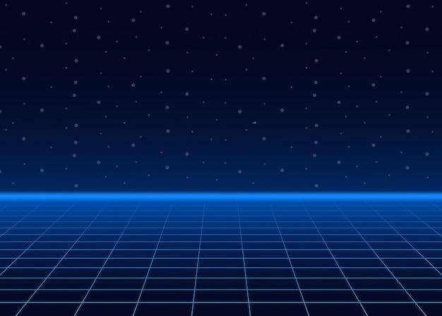 Футуристический пейзаж со стилизованной лазерной сеткой. неоновая микроволновка.
