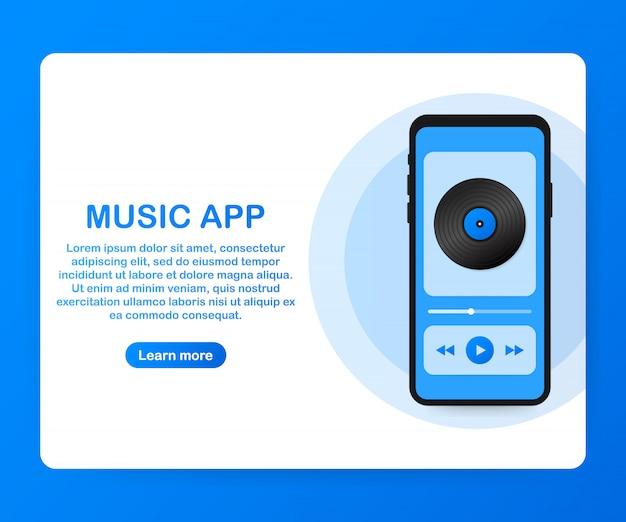 モバイルアプリケーションインタフェース音楽プレーヤー。音楽アプリベクトルイラスト