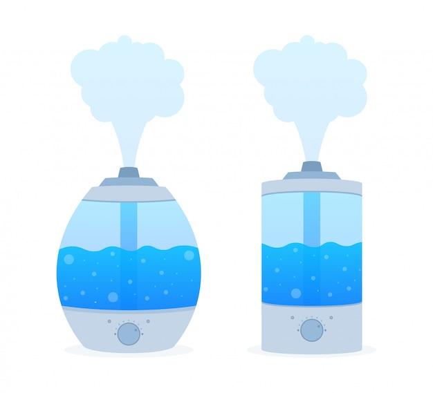 Современный домашний увлажнитель воздуха. увлажнитель воздуха диффузор. очиститель микроклимата. иллюстрации.