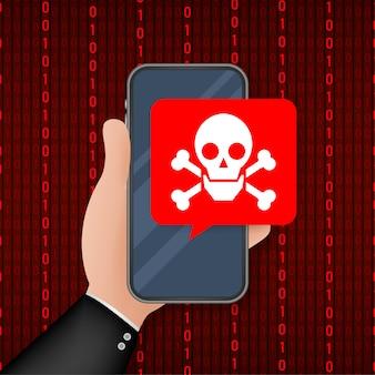 攻撃。画面上の吹き出しと頭蓋骨とクロスボーンを持つスマートフォン。脅威、モバイルマルウェア、スパムメッセージ。図。