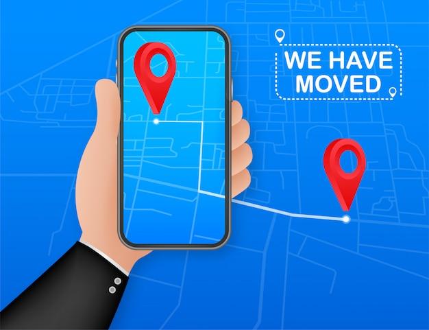 Мы переехали. перемещение офиса знак. мы переехали на экран смартфона. клипарт изображение на синем фоне. иллюстрации.