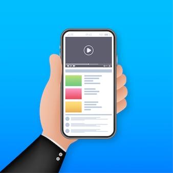 Сайт видео смартфон. интернет образование социальная сеть, как значок. маркетинговая сеть. сайт видео-смартфон для веб-маркетинга.