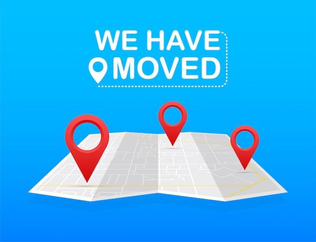 Мы переехали. перемещение офиса знак. клипарт изображение на синем фоне. иллюстрации.