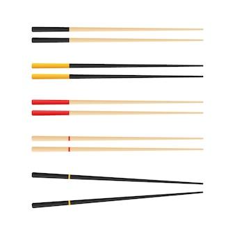Палочки для еды с суши ролл. концепция закуски, суши, экзотическое питание, суши-ресторан. изолированный