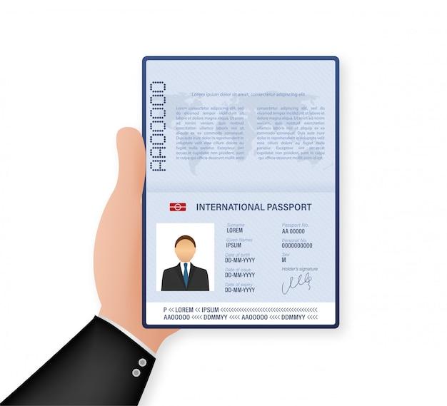 Пустой открытый шаблон паспорта. международный паспорт с образцом персональных данных. иллюстрации.