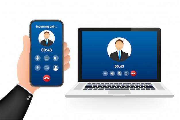 ラップトップでのビデオ通話の着信。着信、男のプロフィール写真、拒否ボタンを受け入れるラップトップ。図。