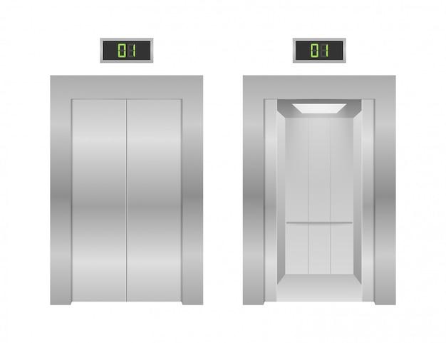 エレベーターのドア。事務所ビルのリフトメタリックの開閉。図。