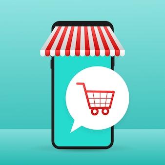 ウェブサイトでオンラインショッピング。オンラインストア、スマートフォンの画面上のショップコンセプト