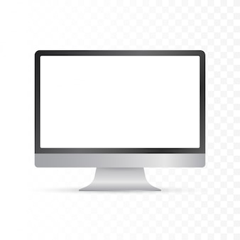 Дисплей компьютера изолированный в реалистическом на белой предпосылке. иллюстрации.