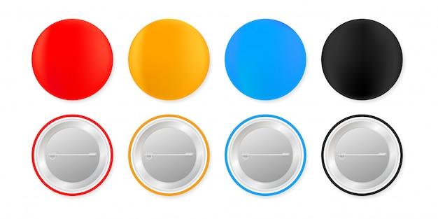 Значки булавки. белая круглая пустая кнопка. сувенирный магнитный макет. иллюстрации.