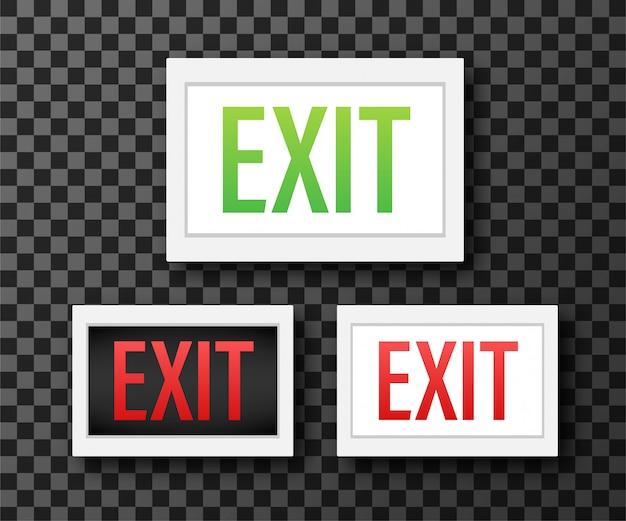 Знак аварийного выхода. символ защиты пожар . иллюстрации.