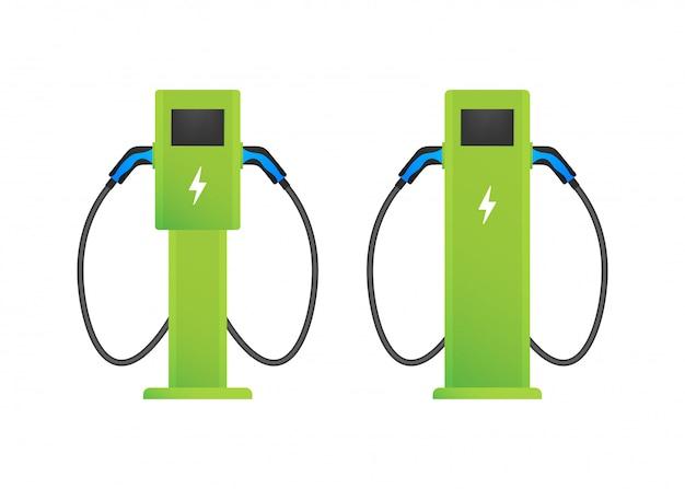 Станция зарядки электромобилей. флэт ев заряд. электромобиль. иллюстрации.