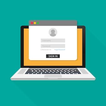 ラップトップ画面のログインページ。ノートブックおよびオンラインログインフォーム、サインインページ。ユーザープロファイル、アカウントの概念へのアクセス。ベクトルイラスト。