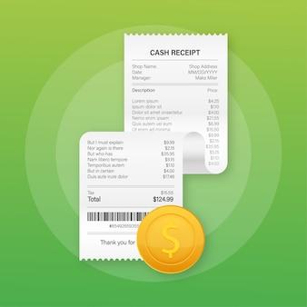 現金またはクレジットカードのトランザクションのための現実的な支払い紙の請求書の領収書イラスト。ストックイラスト。