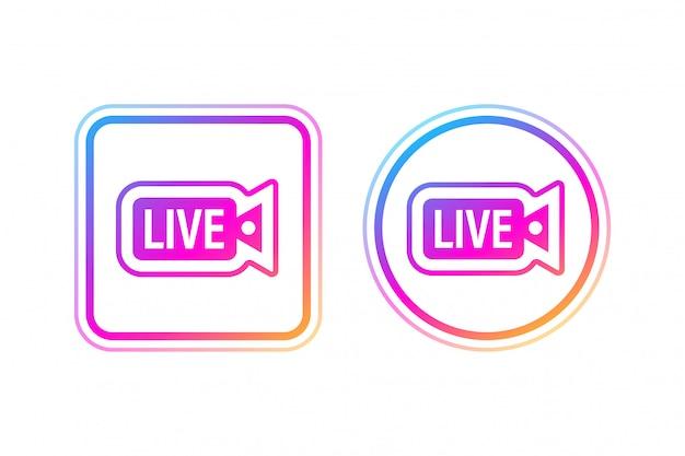 ソーシャルメディアアイコンアバターフレーム。ライブストーリーのユーザービデオストリーミング。図。