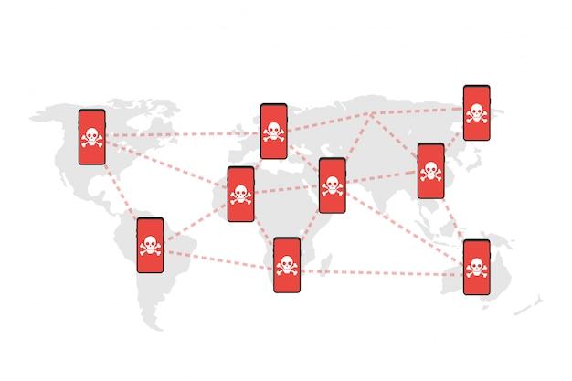 ネットワークの脆弱性-ウイルス、マルウェア、ランサムウェア、詐欺、スパム、フィッシング、電子メール詐欺、ハッカー攻撃。ベクトルイラスト。