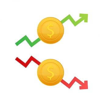Вверх и вниз знак доллара на белом фоне. иллюстрация запаса.