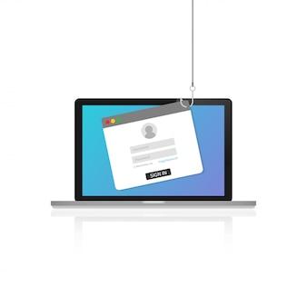 ノートパソコンのインターネットセキュリティの概念。インターネットフィッシング、ハッキングされたログインおよびパスワード。ベクトルイラスト。
