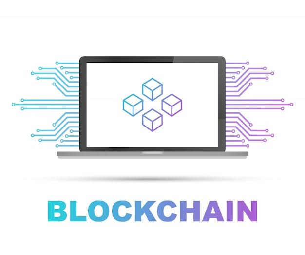 ノートパソコンの画面上のブロックチェーン、ディスプレイ上の接続されたキューブ。データベース、データセンター、暗号通貨、ブロックチェーンのシンボル