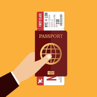 飛行機のチケット付きのパスポート。旅行のコンセプト。ベクトルイラスト。