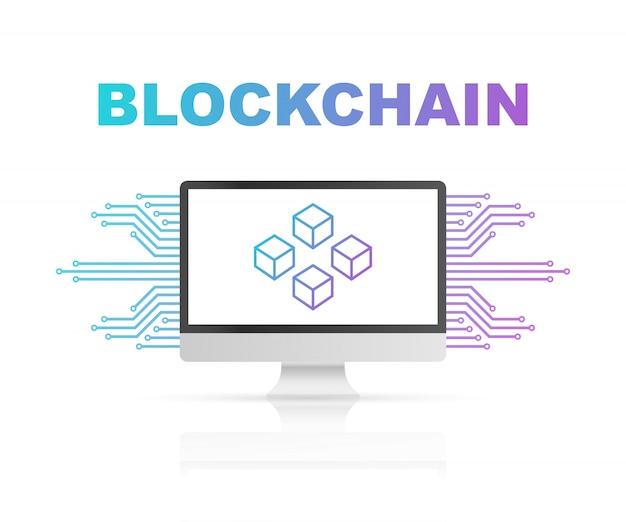コンピューター画面上のブロックチェーン、ディスプレイ上の接続されたキューブ。データベース、データセンター、暗号通貨、ブロックチェーンのシンボル