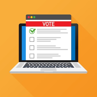 投票オンラインのコンセプトです。ノートパソコンの画面に投票箱を投票します。
