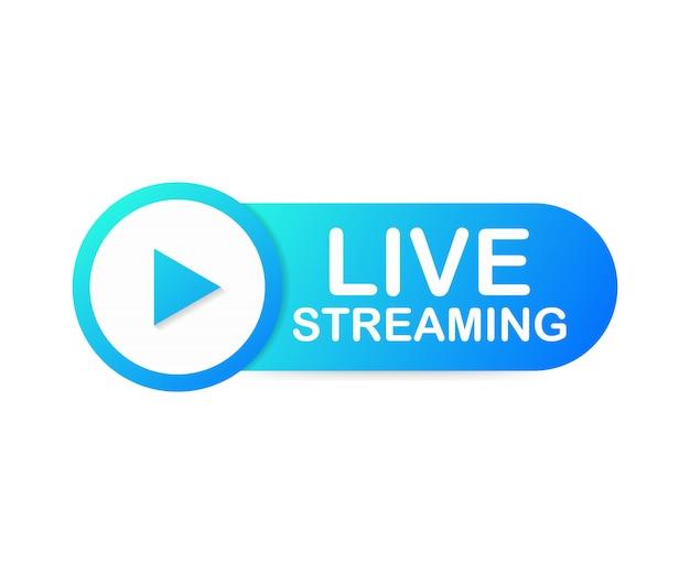 ライブストリーミングフラットロゴ - 再生ボタンで青いデザイン要素。
