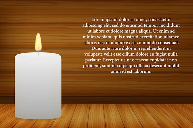 暗い木製の壁に現実的な非常に熱い蝋燭。