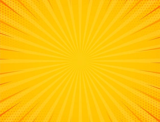 ハーフトーン効果の背景を持つ黄色のサイドハッチ。ビンテージポップアートレトロなベクトルイラスト。