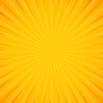 ハーフトーン効果のある黄色のサイドハッチ。ビンテージポップアートレトロな背景。ベクトルイラスト。