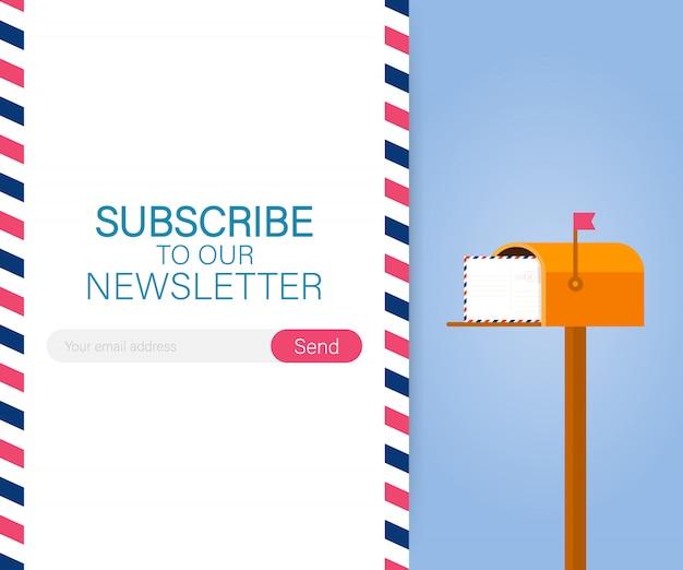 メール購読、メールボックスを持つオンラインニュースレターベクトルテンプレートと送信ボタン。ベクトルストックイラスト。