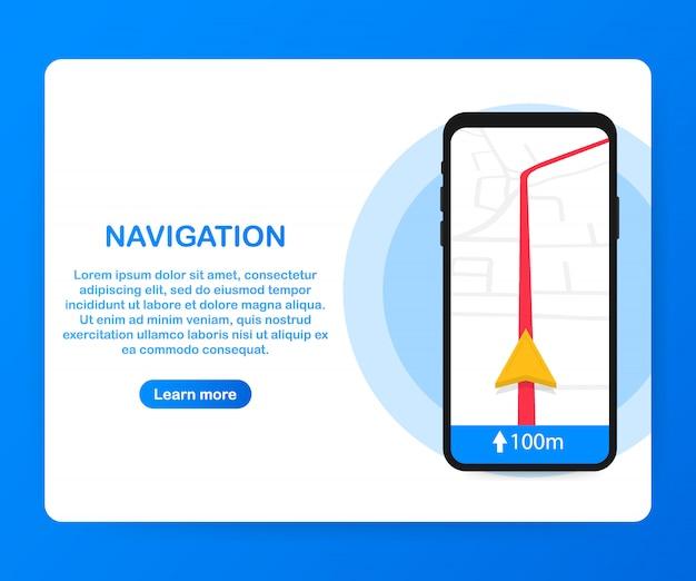 Смартфона с мобильным приложением навигации на экране. карта маршрута с указанием местоположения