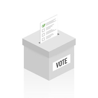 Концепция голосования в плоский - рука положить бумагу в урну для голосования. ,