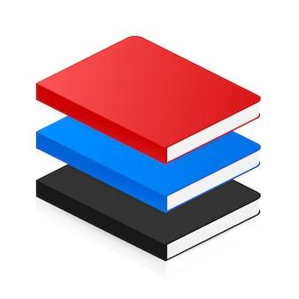 フラットスタイルの等尺性の本のアイコン。 。