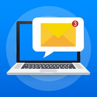 Концепция уведомления по электронной почте. новое электронное письмо на экране ноутбука. ,