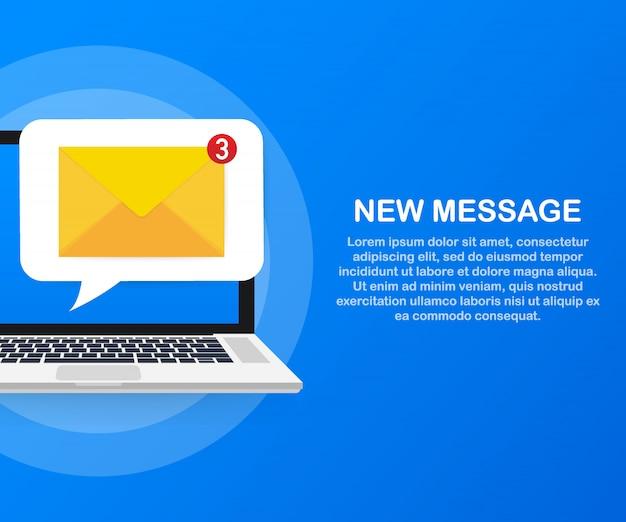 メール通知の概念。ノートパソコンの画面に新しいメールが届きます。 。
