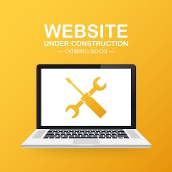 Сайт под знаком строительства на ноутбуке. векторная иллюстрация для сайта.