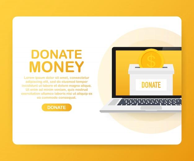 慈善、寄付のコンセプト。ボックスビジネス、金融でお金を寄付します。