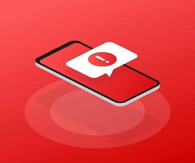 Оповещение мобильного уведомления. опасные сообщения об ошибках, проблемы с вирусами смартфона или сообщения о проблемах со спамом в небезопасных сообщениях.