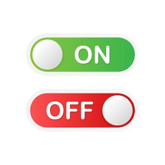 アプリボタンのオンとオフトグルスイッチボタンのベクトル形式。