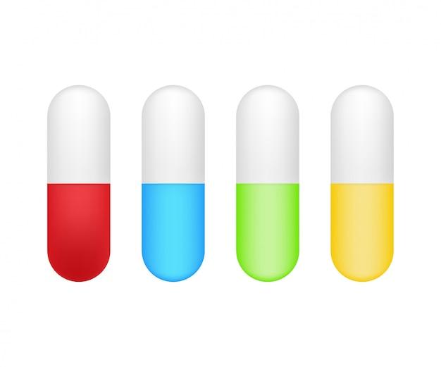 カプセルの丸薬。白い背景の上のカプセルで現実的な錠剤ブリスター