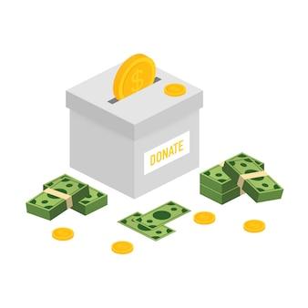 慈善、寄付のコンセプト。ボックスビジネス、金融でお金を寄付