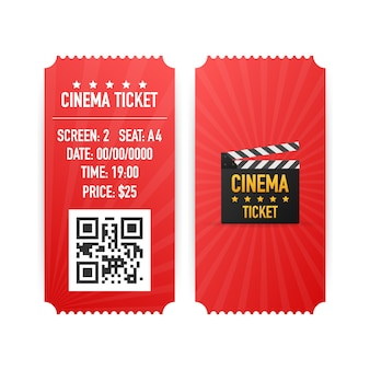 白い背景で隔離の映画のチケット。リアルな正面。映画のバナー。シネマムービーチケットセット
