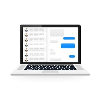 Концепция социальной сети. пустой шаблон ноутбук с приложением мессенджера
