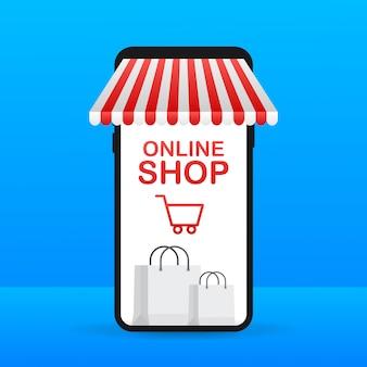 Покупки онлайн на сайте. интернет-магазин, концепция магазина на экране смартфона