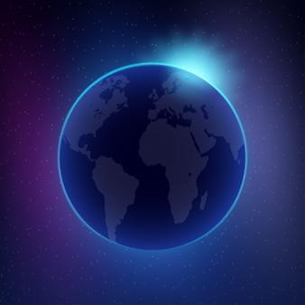 Рассвет из космоса. рассвет из космоса. восходящее солнце позади земли