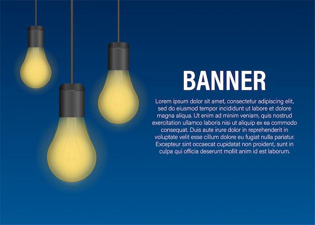 Реалистичная прозрачная лампочка баннер