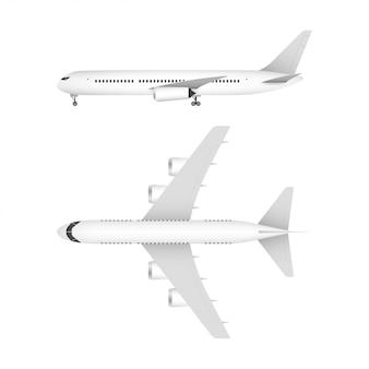 Белый самолет на белом фоне в профиле, изолированные. векторная иллюстрация