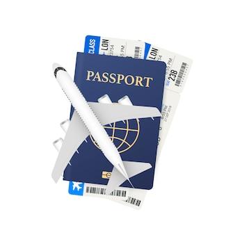 パスポート、搭乗券、飛行機。旅行のコンセプト。予約サービスまたは旅行代理店のサイン。広告バナー