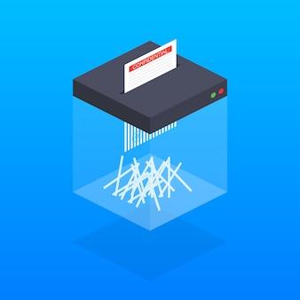 Изометрические шредер машина. офисное устройство для уничтожения документов.
